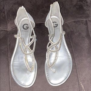 Size 10 Guess silver and white sandals